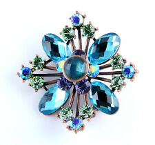 NEW RUCINNI LARGE BLUE SWAROVSKI CRYSTALS FLORAL PIN PENDANT IN ANTIQUE BRONZE