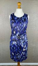ALBA MODA Damen Gr 40 Kleid 100% Leinen Blau Silber Animal Etuilkleid Dress #306