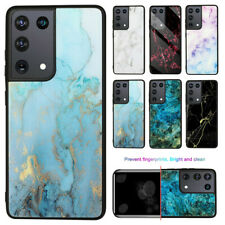 For Samsung Galaxy S21 S21 Ultra Shockproof Marble Tempered Glass TPU Case Cover
