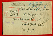 LATVIA 1920 REGISTERED ENVELOPE CANCELLED RIGA ll PILS. NOD. TO NEW YORK 35