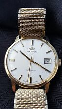 LOVELY GENTS MARVIN WATCH IN 9CT SOLID GOLD ..AUTO, CALENDER