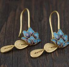 Gold Dipped Sterling Silver Lotus Flower Enamel Drop Earrings Dangle Boho