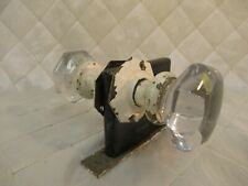 Antique Glass and Brass Door Knob Set with Mortise