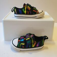 Converse All Star Black Coloured Stripe Trainers Shoes Infant UK 5 Excellent Con