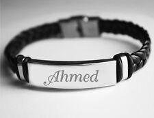 Name Bracelet AHMED - Mens Leather Braided Engraved Bracelet - Muslim Designer