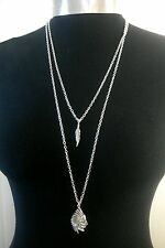 """Indian Chief & Feather Charms Layered Necklace Minimalist Silver Tone 30"""" Chain"""