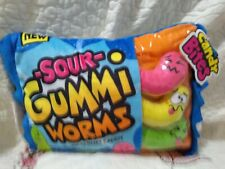 Plush Candy Sour Gummi Worms Candy Pillow Stuffed Animal Zipper Pouch 3 Beans