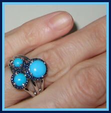 Sleeping Beauty Turquoise  Blue Diamond 3stone Ring  Sterling Silver 925 sz  6