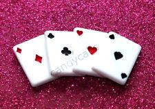 4 Pcs Playing Cards Poker Game Magic Joke Flatback Cabochon Craft DIY Decoden