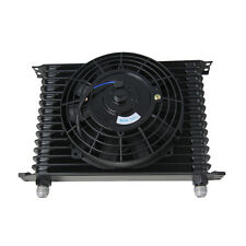 """10AN 15ROW Universal Racing Engine Transmission Oil Cooler & 7"""" Electric Fan Kit"""