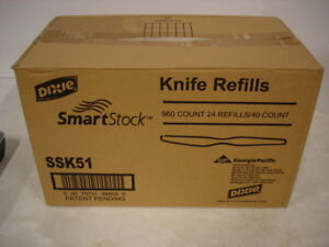 Dixie SSK51 SmartStock Cutlery Dispenser Black Knife Refills - 960/Carton