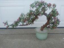 "26"" Vintage Glass Jade Shells Sakura Cherry Blossom Potted Bonsai Tree Decor"