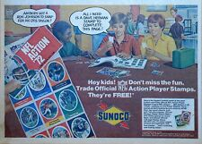 Sunoco ad with NFL Action Player Stamps - Trading time, 1972 color comic ad page