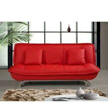 .venice leather sofabed in red  two free cushions. £165