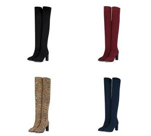 Ladies Shoes Stretchy Fabric High Block Heel Over Knee Slouch Boots AU Size b241