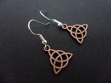 Un par de pequeño lindo color cobre Nudo Celta Pendientes Colgantes. Nueva.