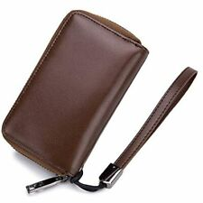 Large Leather Key Case Wallet With 12 Hooks &amp Keychain/Ring Double-breasted