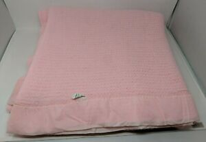 """JCPenney 100% Acrylic Thermal Waffle Weave Satin Trim Pink Blanket 76"""" X 84"""" VTG"""
