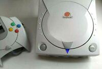 Refurbished Sega Dreamcast Blue LED + New Clock Battery + Fuse Mod White Console