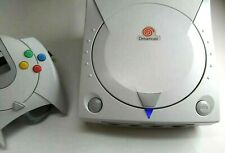 Refurbished Sega Dreamcast Blue LED + New Clock Battery + Fuse Mod White Console
