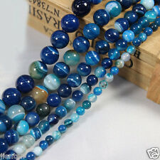 30Pcs Natural Round Blue Sea Agate Gemstone Charms Loose Spacer Beads 6mm