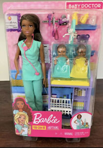Barbie You Can Be Anything Baby Doctor Brunette Doll and Playset 2 Infant Dolls,