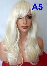 Pale Blonde Wig Women Fashion Long Curly Halloween Ladies Full Head Hair Wigs A5
