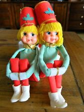 2 Vintage Christmas Boy & Girl Knee Hugger Ornaments Japan