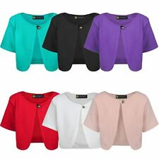 Girls Short Sleeve Cropped Bolero Kids Textured Material Cardigan Top 3-14 Years