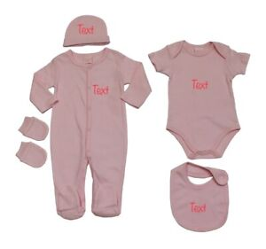 Baby Grow Girl Personalised Embroidered Gloves Vest Hat Gift Set 0-3-6 m months