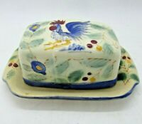 Vintage NASCO BUTTER DISH Rooster, Japan, Hand Painted