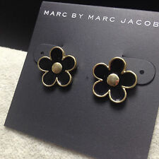 New Hot Fashion Marc By Marc Jacobs Black Flower Gold Stud Earrings