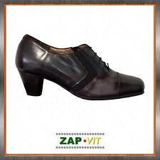 DOCTOR CUTILLAS 75142 → Zapato Mujer Vestir Piel Gris+Negro Abotinado Cordones