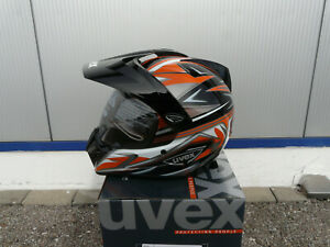 Motorradhelm Integralhelm Crosshelm Uvex Enduro 3 in 1 schwarz-orange-shiny Gr S