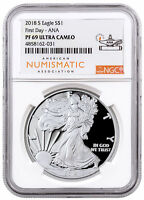 2018-S Proof American Silver Eagle NGC PF69 FDI Philadelphia ANA Label SKU55127