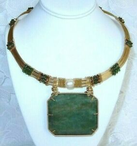 453ct Emerald Necklace Natural stone,Swarovski Crystals, 14kt yellow gold filled