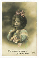 c 1912 Vintage Little PINK BOW GIRL tinted French photo postcard