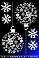 2 FASHION BALLS SNOWFLAKES REUSABLE CHRISTMAS STICKERS WINDOW DECORATIONS Xmas +
