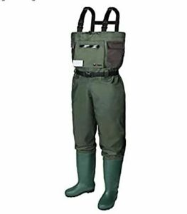 Runcl Chest Waders, Waist High Waders Breathable Nylon | Green Boot Size 7