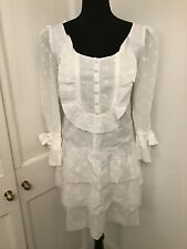 ALICE BY TEMPERLEY white cotton broderie anglaise prairie dress SIZE UK 12