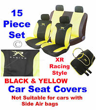 15 Pc Yellow & Black XR Racing Car Seat Belt Steering Wheel Covers Cover Mat Set