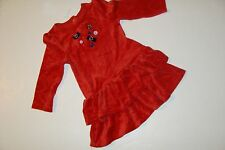 Gymboree Winter Penguin Girls Size 3T Red Velour Button Bow Dress NWT