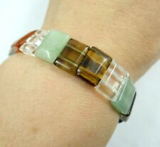 Fashion rectangle Mix agate  gemstone beads stretchable bracelet R4Does Not Appl