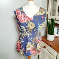 JOULES (UK Size 12) Bright Bold Blue Floral Peplum Top (Flaw requires repair)
