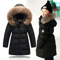 Fille Winter Down Jacket Thick Hooded Outwear Coat Fur Collar Doudoune Manteau