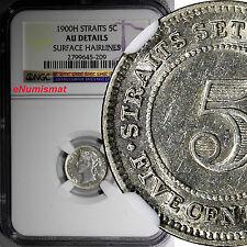 STRAITS SETTLEMENTS  Victoria Silver 1900-H  5 CENTS NGC AU DETAILS SCARCE KM#10