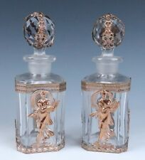 🟢Pair Antique French Ormolu Mounted Perfume Bottles Cut Glass Baccarat Crystal
