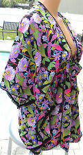 Victoria's Secret coverup beach dress caftan cruise black purple floral XL bali