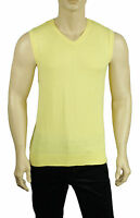 Club Room Men's Sleeveless V Neck Sweater Vest Cotton Solid Yellow Size L NWT