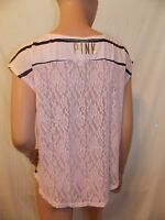 Victoria's Secret Pink NWT Scoop-neck Lace Back Striped Tee Color Pink Medium
